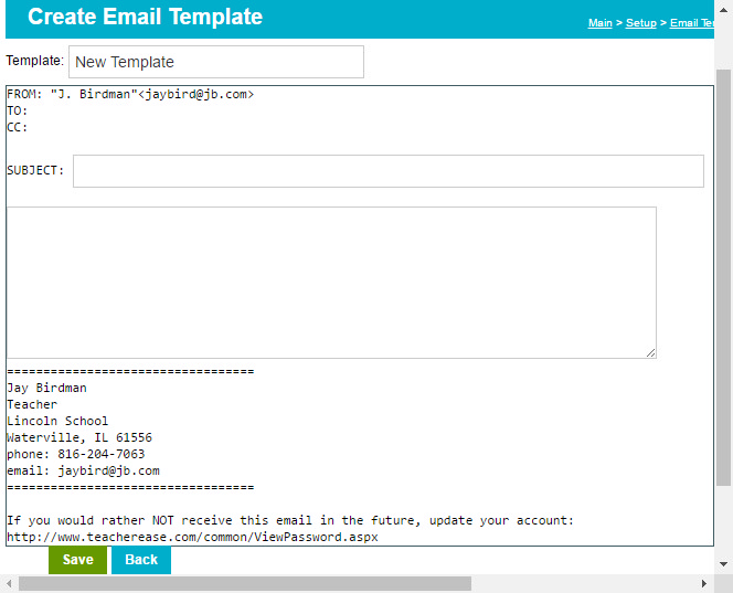 Create Email Templates - Set up email template