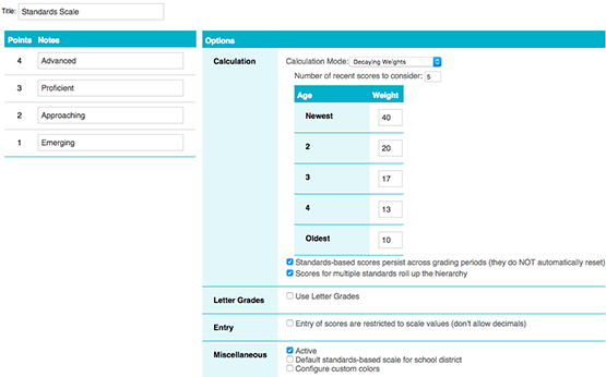 Standards based Gradebook - TeacherEase